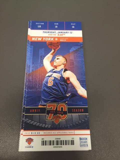 New York Knicks Chicago Bulls MINT Season Ticket 1/12/17 2017 NBA Stub