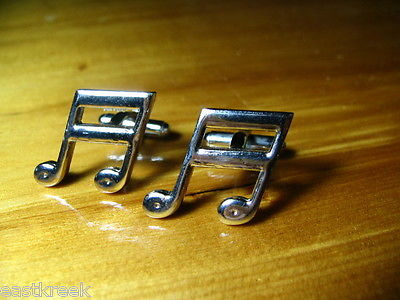 Vintage Musical Note Cuff Links Silver - FreeShipping