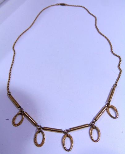 Vintage Fine 12Kt GF Signed BIGNEY Antique Etched Loop Ornate Chain Necklace