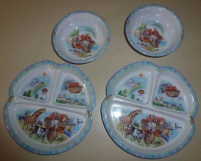 Noah's Ark Melamine Child Divided Compartment PLATES and BOWLS - 2 of Each