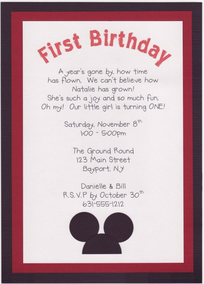 Personalized Handmade Mickey Mouse Birthday Party Invitations