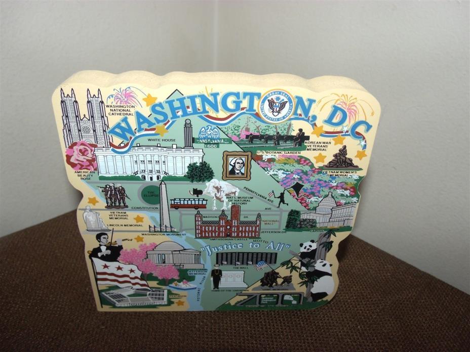 Cat's Meow Washington DC Map Painted Wooden Shelf Sitter Faline 2004