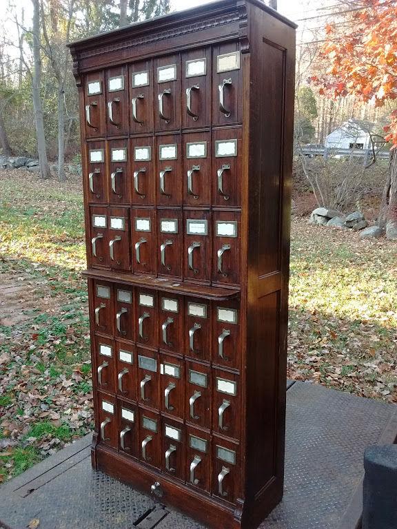 Antique Oak Flat File Cabinet 36 Drawer Lang Document Cabinet