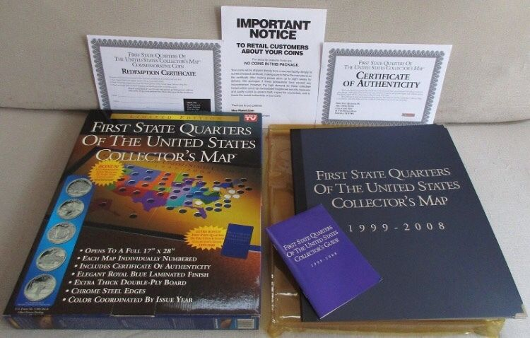 FIRST STATE QUARTERS of the UNITED STATES COLLECTORS MAP