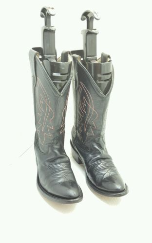 OLD WEST GIRLS-BOYS SIZE 3.5M BLACK LEATHER WESTERN COWBOY RODEO RIDING BOOTS