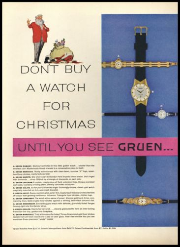 1955 Gruen Ladies Watches 9 Styles Christmas 2 page AD