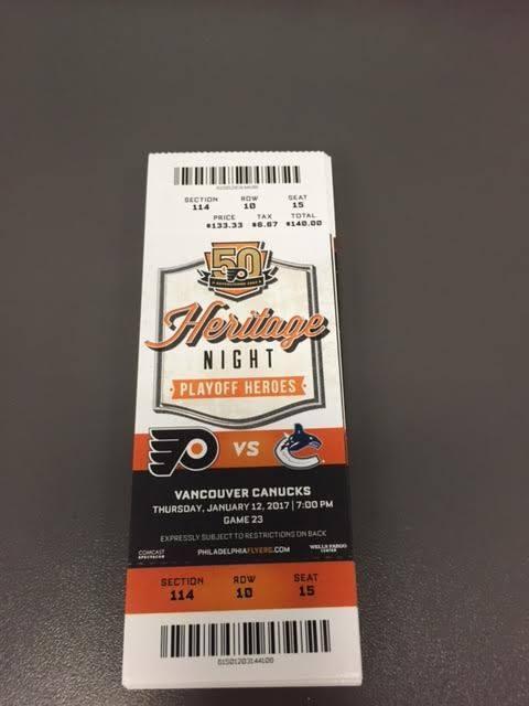 Philadelphia Flyers Vancouver Canucks MINT Season Ticket 1/12/17 2017 NHL Stub