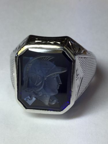 14k White Gold Art Deco Blue Glass Knight Intaglio Heavy Mens Ring