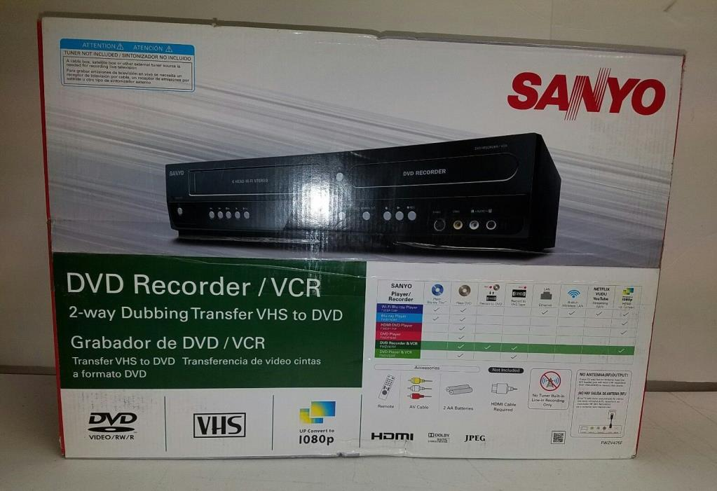 Sanyo DVD Recorder/VCR Combo 2-way dubbing transfer vhs to dvd  NEW SHIPS FAST