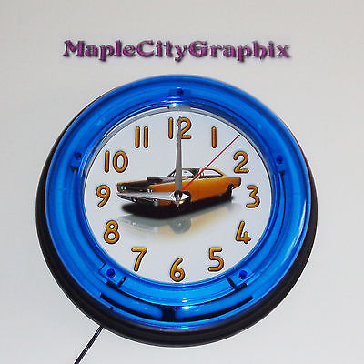 1969 Dodge Coronet Super Bee Blue Neon Wall Clock