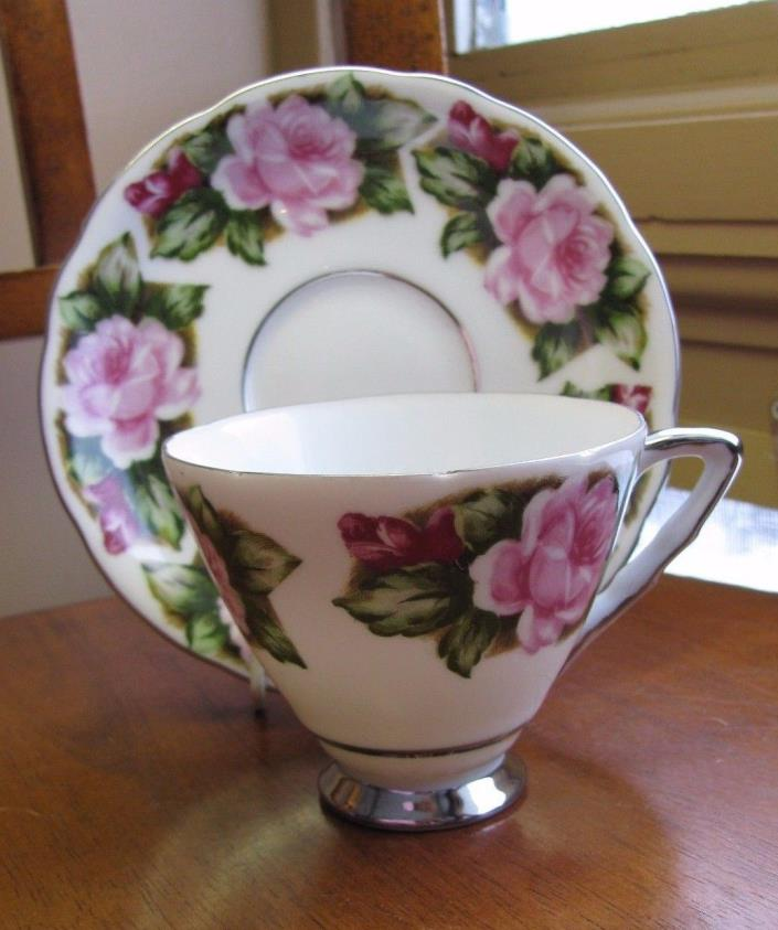 Vintage YADA Japan China Tea Cup & Saucer Set PINK ROSES Platinum Trim EXC
