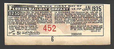 $2.50 Dollar Gold FLORIDA RAILWAY OLD Bill Antique USA 1935 RR Paper Note Coupon