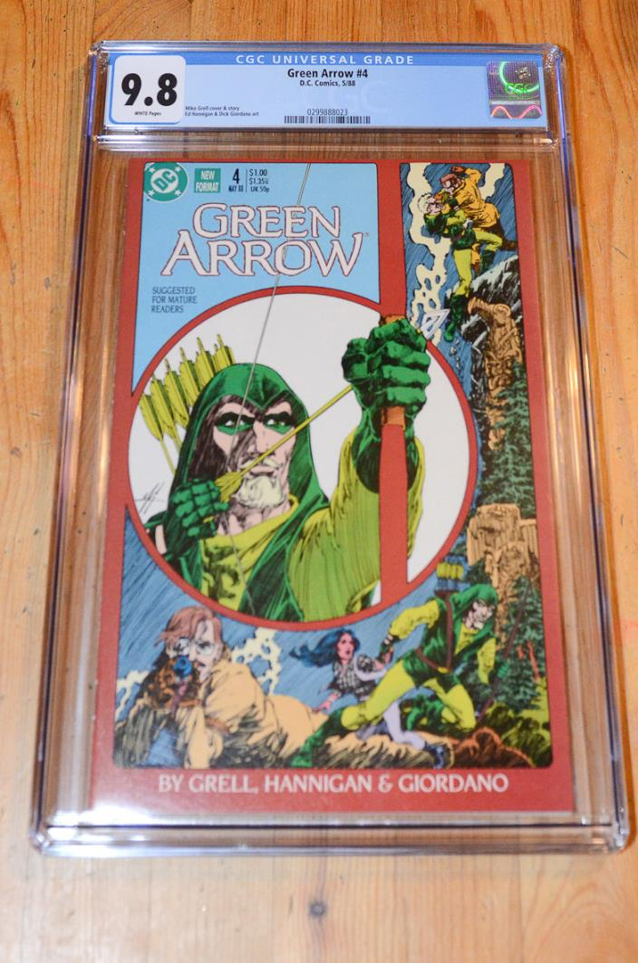 Green Arrow #4 (1988) CGC 9.8 NM/MT, White, Mike Grell cover, top census!