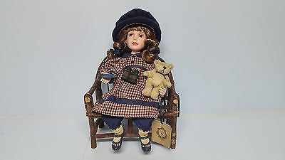 Boyds Yesterdays Child Collection ERINLYNN Porcelain Doll with Bear & Twig Chair