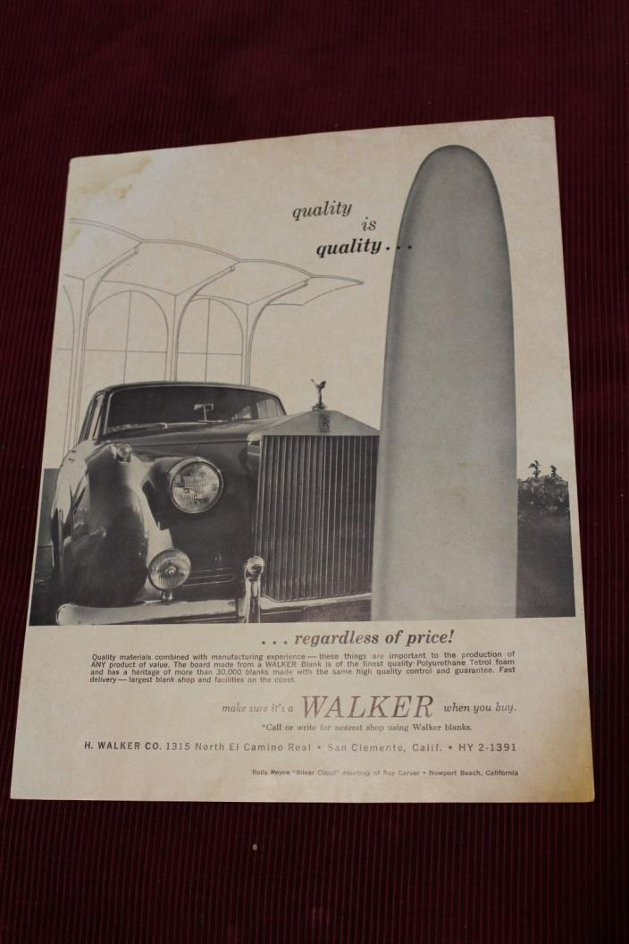 Walker Surfboard Blanks Rolls Royce Surfing Classy 60's 8x11in. Ad Sheet Poster