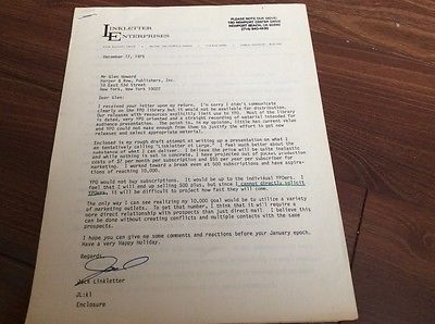 Jack Linkletter Four Page letter w/ Signature Detailing Upcoming Project