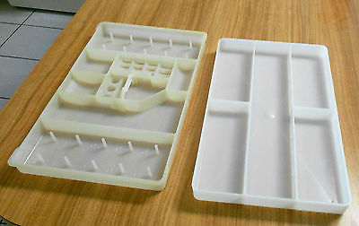 2 SEWING NOTION TRAYS W/SECTIONS,SEWING BOX BASKET TRAY HOLD SEWING STUFF THREAD