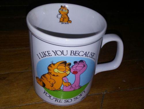 VINTAGE 1980's Garfield Coffee Mug - I like you because you're soft