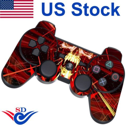 Decal Sticker Protective Skin for Sony PS3 Playstation 3 Controller Skull Red