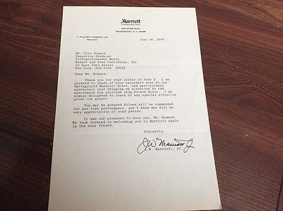 Marriott Hotel President JW Marriott Jr Personal Letter Stationary w/ Signature