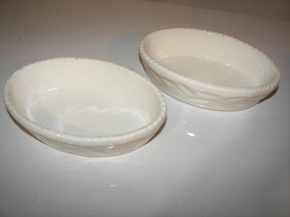 STANGLE CASSEROLE DISHES  -  WHITE  - SET OF 2