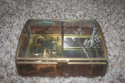 Etched Purple Amethyst Glass Mirror Jewelry Music Box