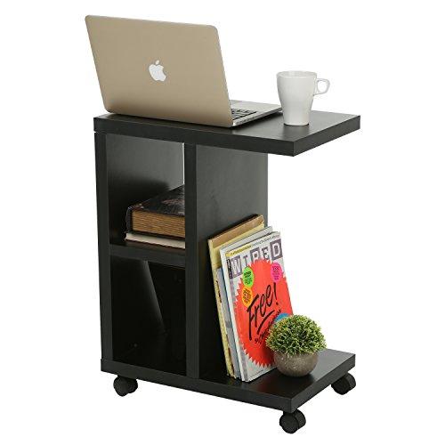 Modern Wood Rolling End Table, Rectangular Storage Organizer Shelving Unit