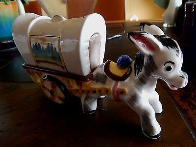 Vintage Wales, Japan donkey salt & pepper covered wagon set estate