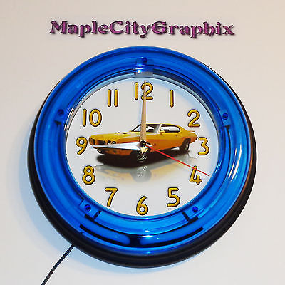 1970 Pontiac GTO Judge Blue Neon Wall Clock