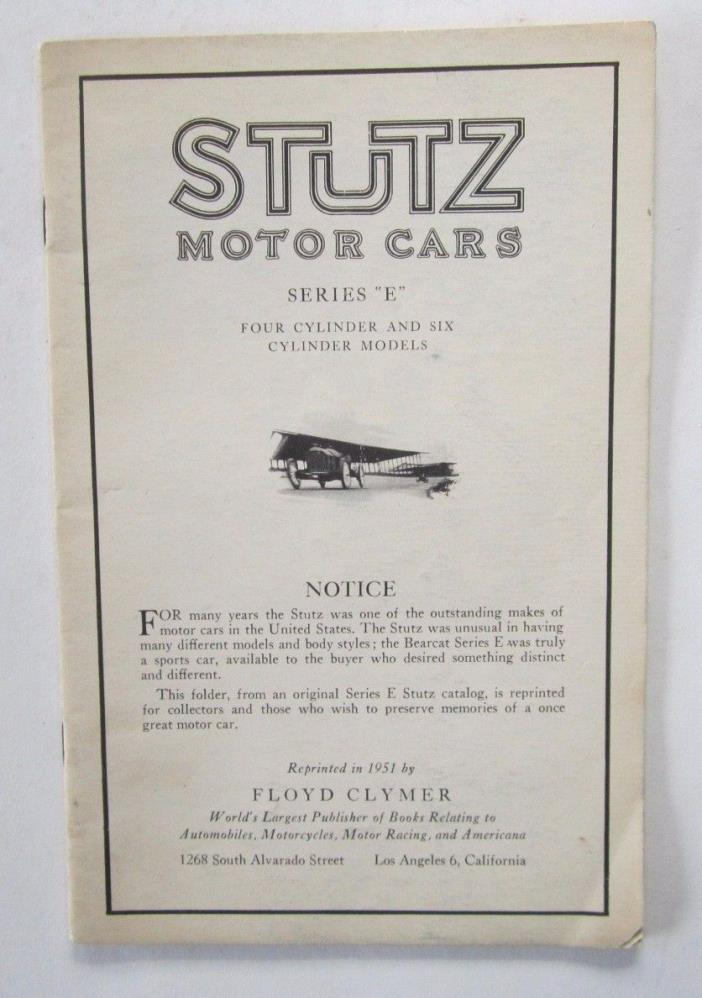 The Brush Runabout 1900's Car Brochure  50's Clymer Reprint
