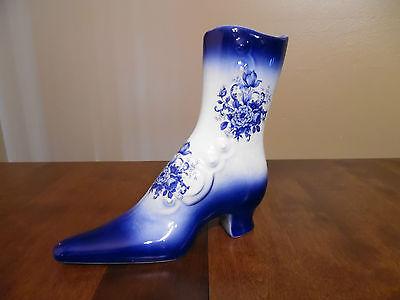 Vintage Ceramic Victorian Shoe/Boot Planter Vase - Blue Floral - Nice!!