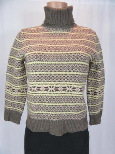 THEORY Brown Ivory Geometric Print Wool Turleneck Sweater Top 3/4 Sleeves M