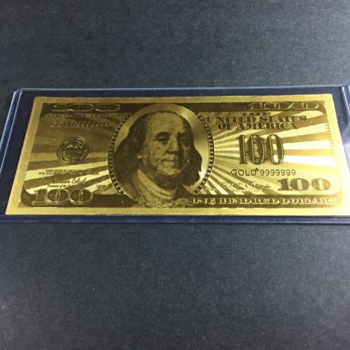 24k Gold US 100 Dollar Bill