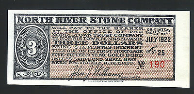 $3 NORTH RIVER STONE CO 1922 GOLD Bond Norristown PA coupon WILLIAMS Treasurer