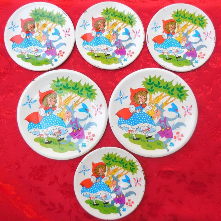 Vintage Ohio Art Tin Litho Dishes Little Red Riding Hood & Wolf Plates Saucers