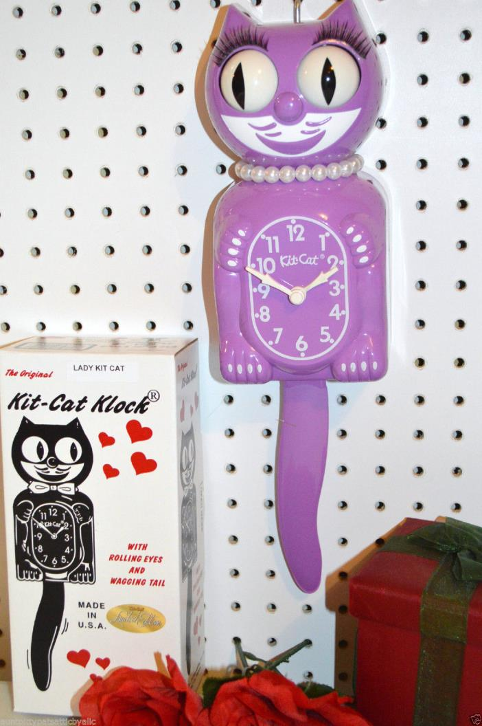 Kit Cat Clock Orchid Purple Made In USA We ship Priority in 24 Hrs.