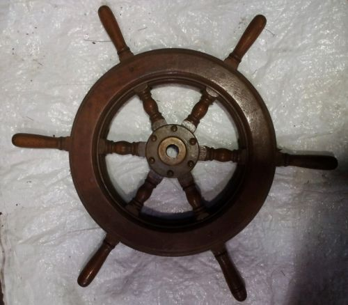 ANTIQUE BRASS AND WOOD BOAT STEERING WHEEL SHIPS WHEEL 24