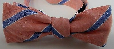 USA Robert Talbott/Stinson R Ely Large Orange Blue Stripe Linen Bowtie