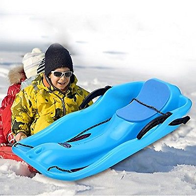 Kids Snow Sled Boat Sledge with Brakes Toboggan Glider Downhill Sprinter