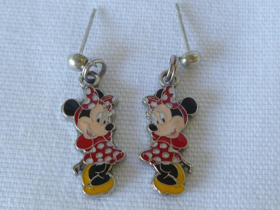 DISNEY MINNIE MOUSE POSTS WITH DANGLE FRONT AND BACK ENAMEL PIERCED VERY NICE!