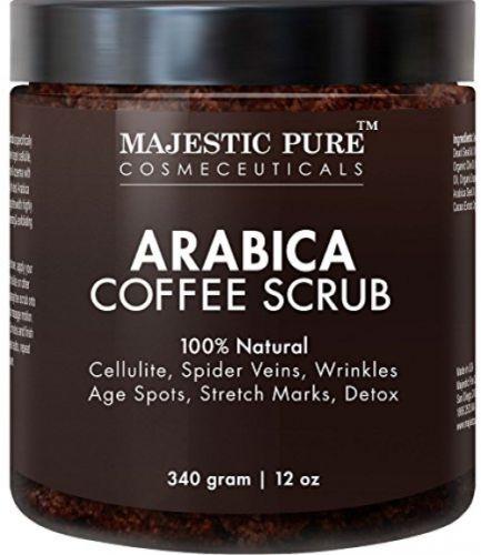 Majestic Pure Arabica Coffee Scrub, 12 Oz - Natural Body Scrub For Skin Care,