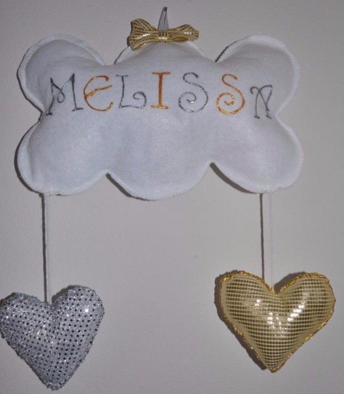 Personalized Name wall hanging  Baby Kids nursery room Cloud Bow Hearts heart