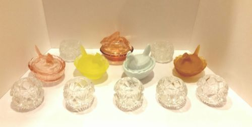 Mixed Lot of 12 - 7 Glass Open Salt Cellars & 4 Covered Hens & 1 Rabbit on Nest