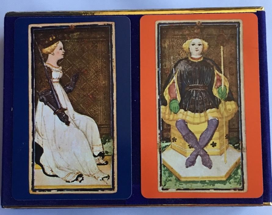 VTG Congress Double Deck Playing Cards Queen Of Swords & King Clubs Tax Stamp