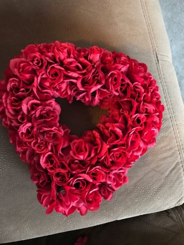 Red Floral Fabric Heart Valentines Wreath Silver Bow Love Wedding Anniversary