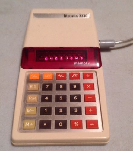 Vintage Litronix 2230 Calculator With Case And AC Adapter - Excellent