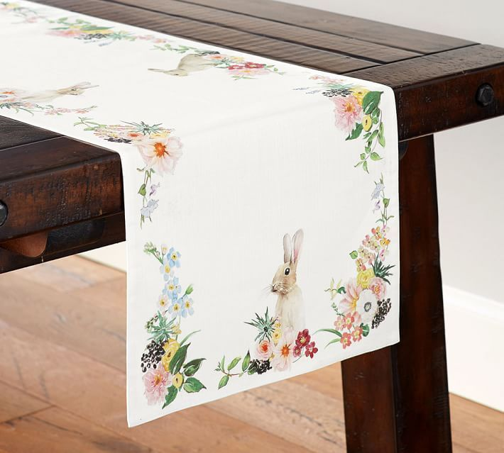 Table Runner Easter Spring Collection Floral Bunny Pattern Woven Linen & Cotton