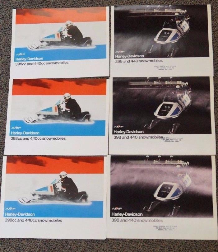 6 1973 HARLEY DAVIDSON SNOWMOBILE SALES BROCHURE SPECIFICATION & DIMENSION RARE