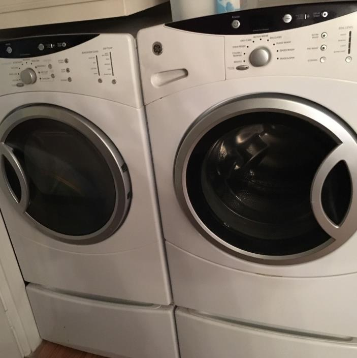 GE washer & dryer on storage drawers PICK UP ONLY