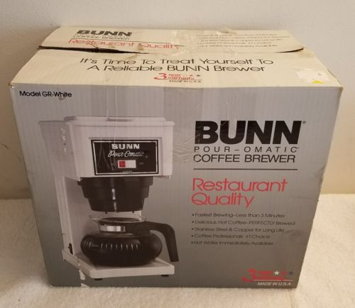 Never Used Bunn GR Pour-O-Matic 10 Cups Coffee Maker - White - New Open Box